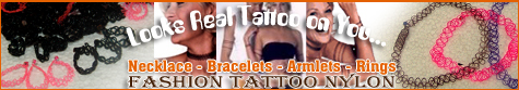 Tattoo Nylon Necklace, Bracelets, armlets, anglets and rings collection